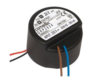 19.  ALIMENTATION MINIATURE 24 VDC - 26W POUR BOITES DE DERIVATION. MOULEE EN RESINE POLYURETHANE. INDICE DE PROTECTION IP65